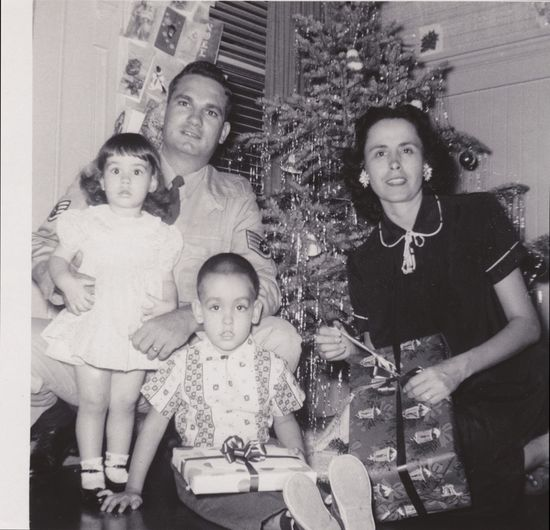 Mom, Dad, Ray and Dottie, Christmas 1958, Wilder Ave., Honolulu, Hawaii